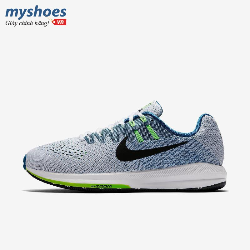 Giày Thể Thao Nike Air Zoom Structure 20 Nam - Trắng Xanh