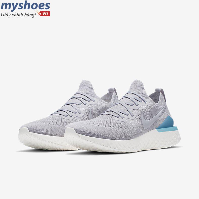 Giày Nike Epic React Flyknit 2 Nam - Xám Xanh